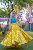 Sunflower Yellow Embellished Skirt & Teal Green Crop Top SIDE
