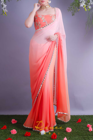Tangerine Crop Top With Blush Tangerine Saree Front