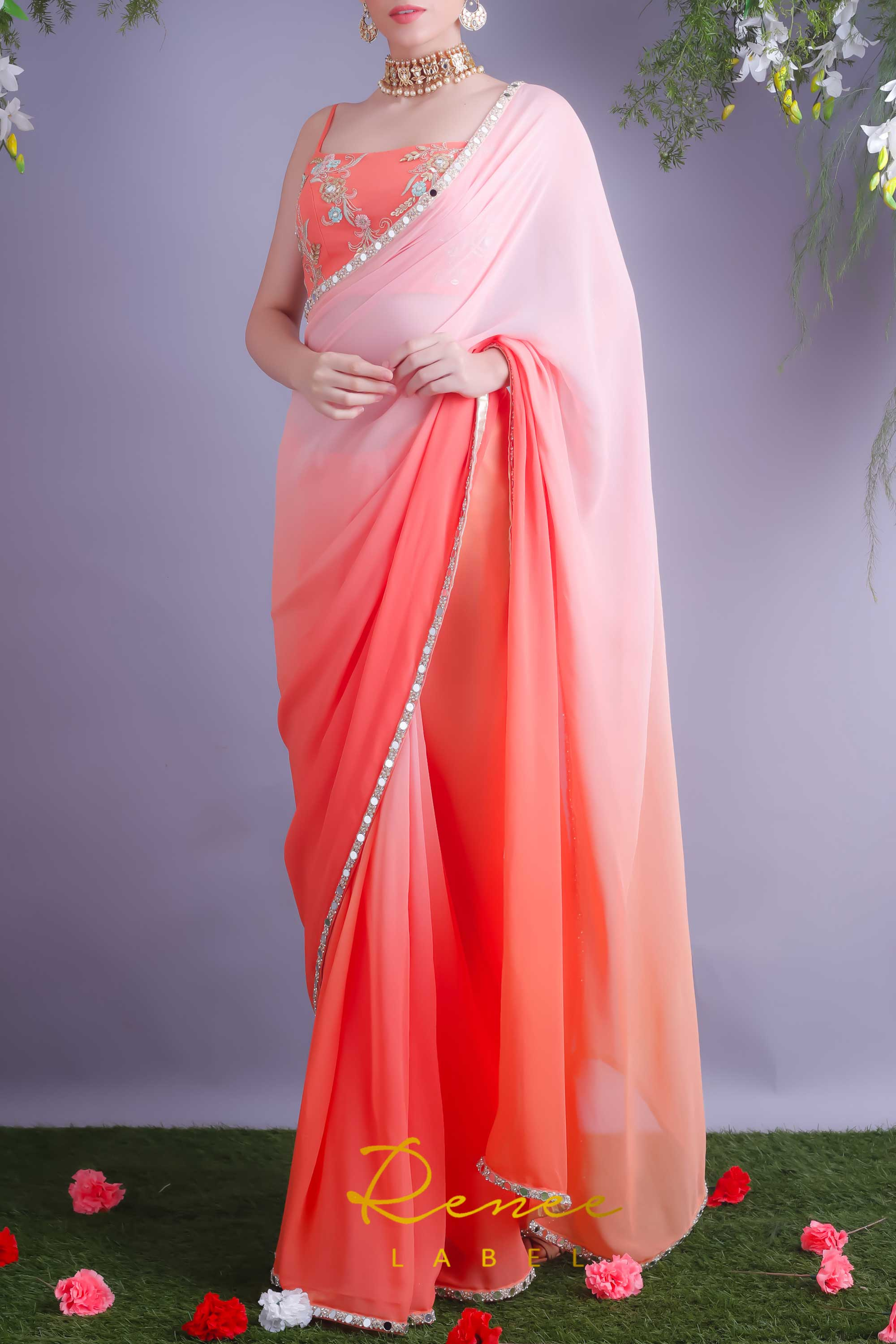 Tangerine Crop Top With Blush Tangerine Saree Side