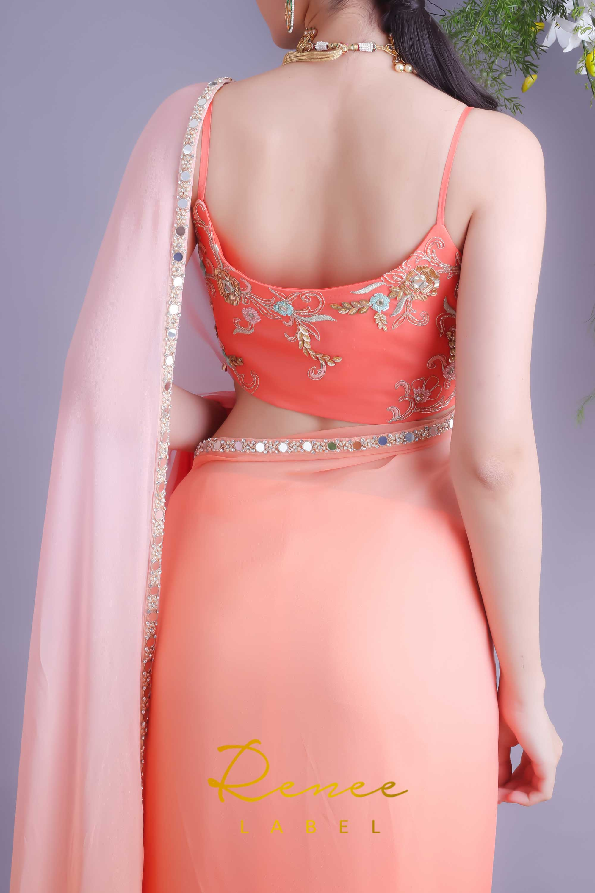 Tangerine Crop Top With Blush Tangerine Saree Back