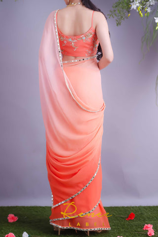 Tangerine Crop Top With Blush Tangerine Saree