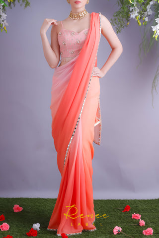Peach & Tangerine Saree With Pink Crop Top Front