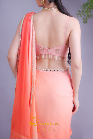 Peach & Tangerine Saree With Pink Crop Top