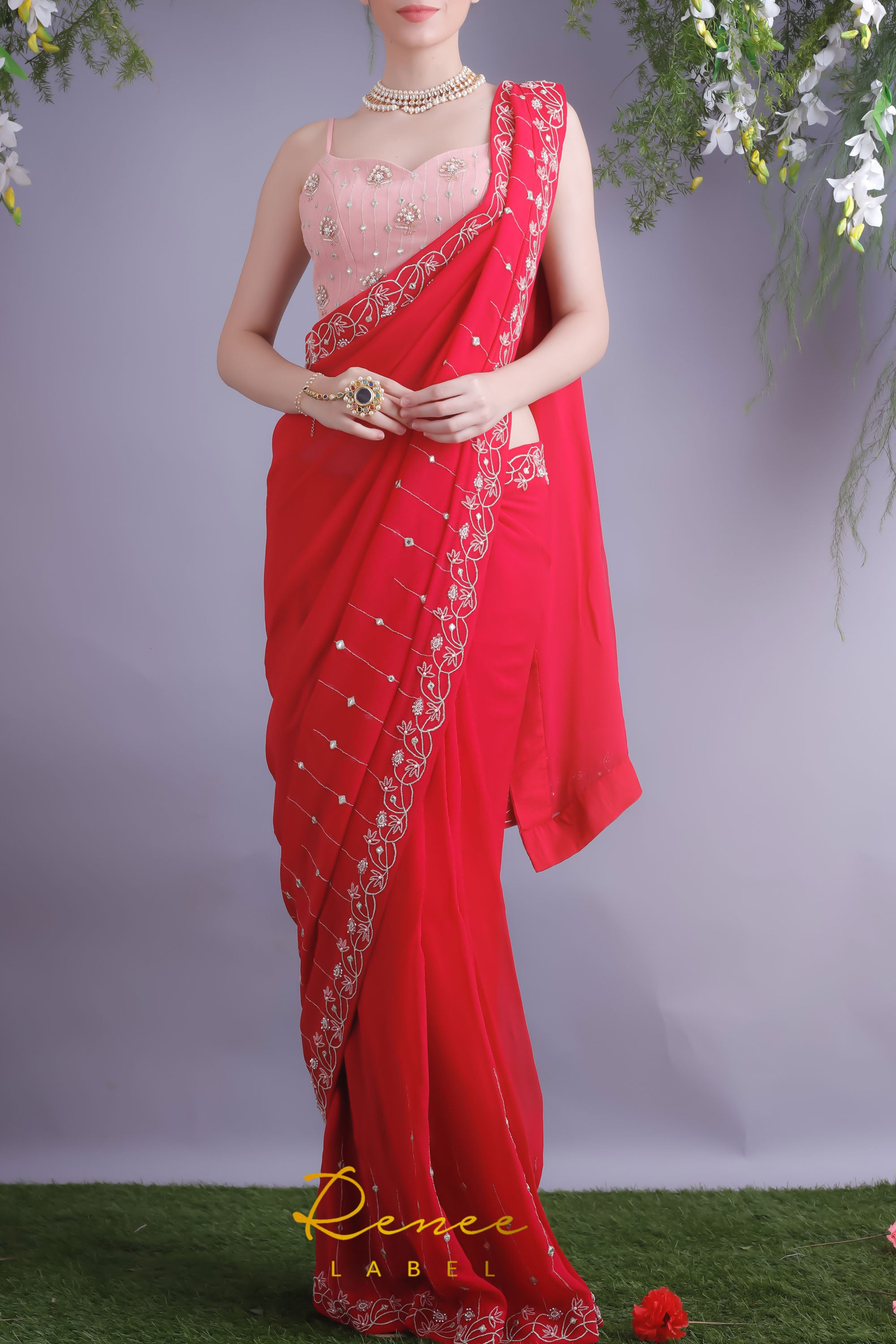 Rose Red Saree & Blush Pink Crop Top Front