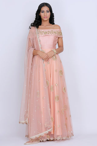 Off Shoulder Peach Anarkali