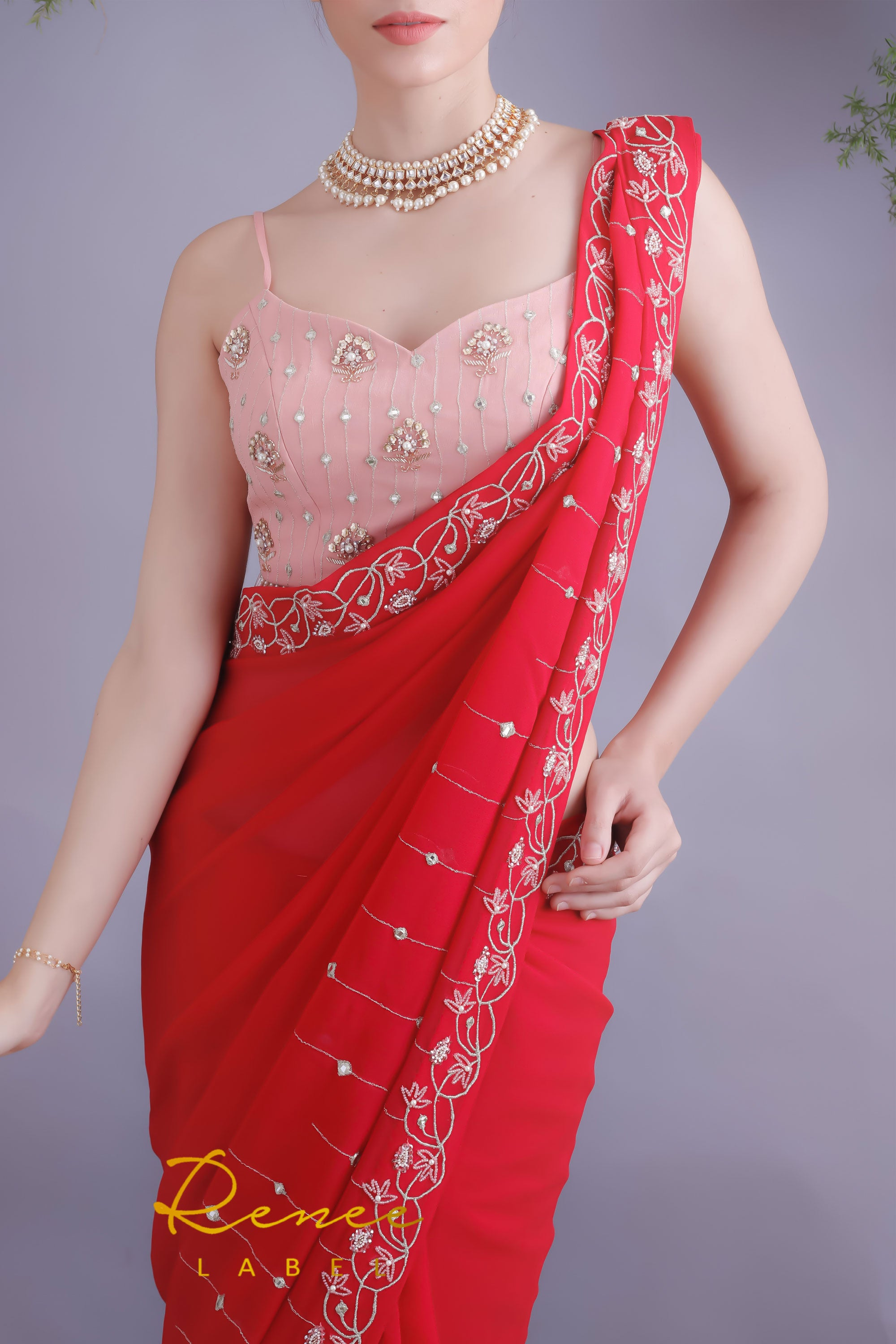 Rose Red Saree & Blush Pink Crop Top Closeup
