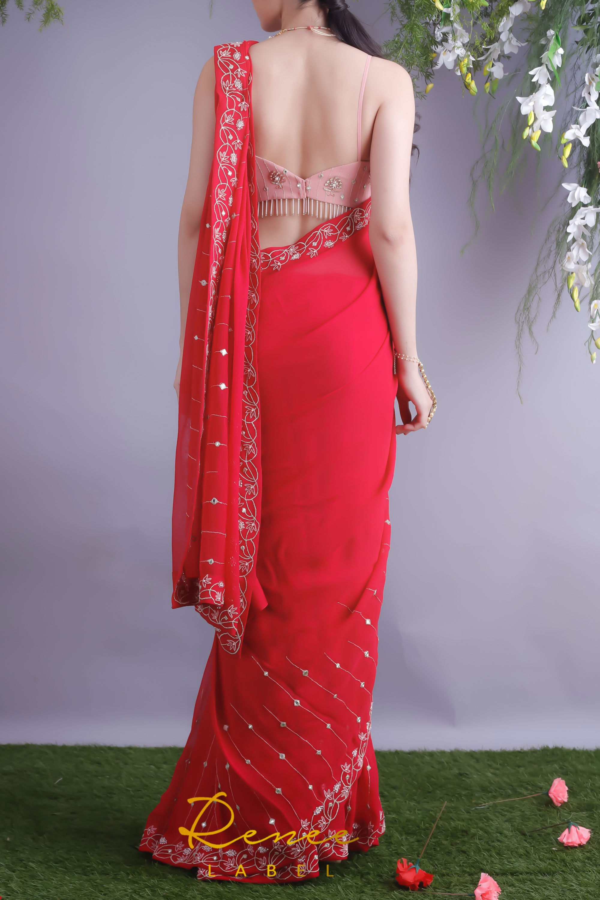 Rose Red Saree & Blush Pink Crop Top Back