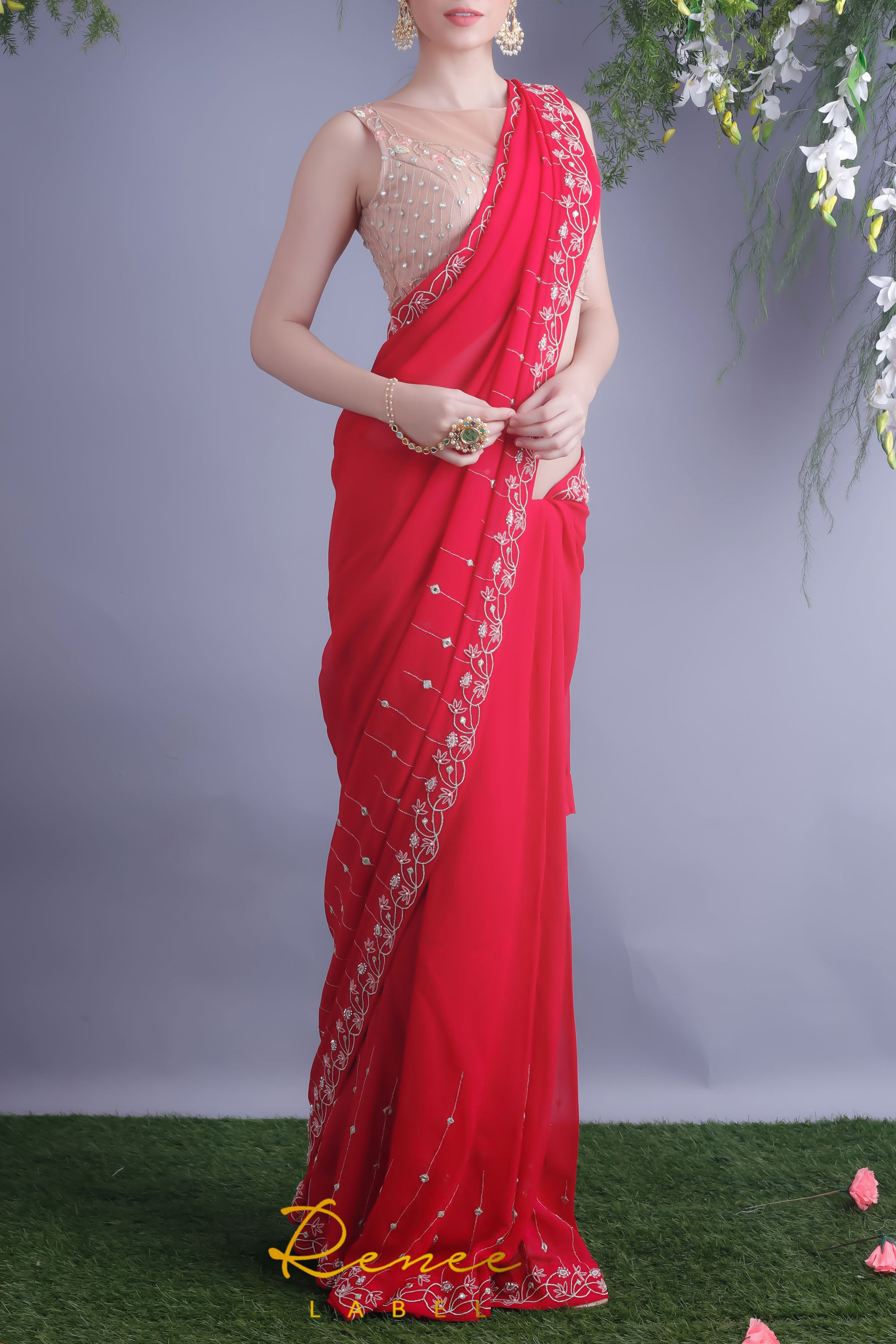 Rose Red Saree & Nude Blouse Front