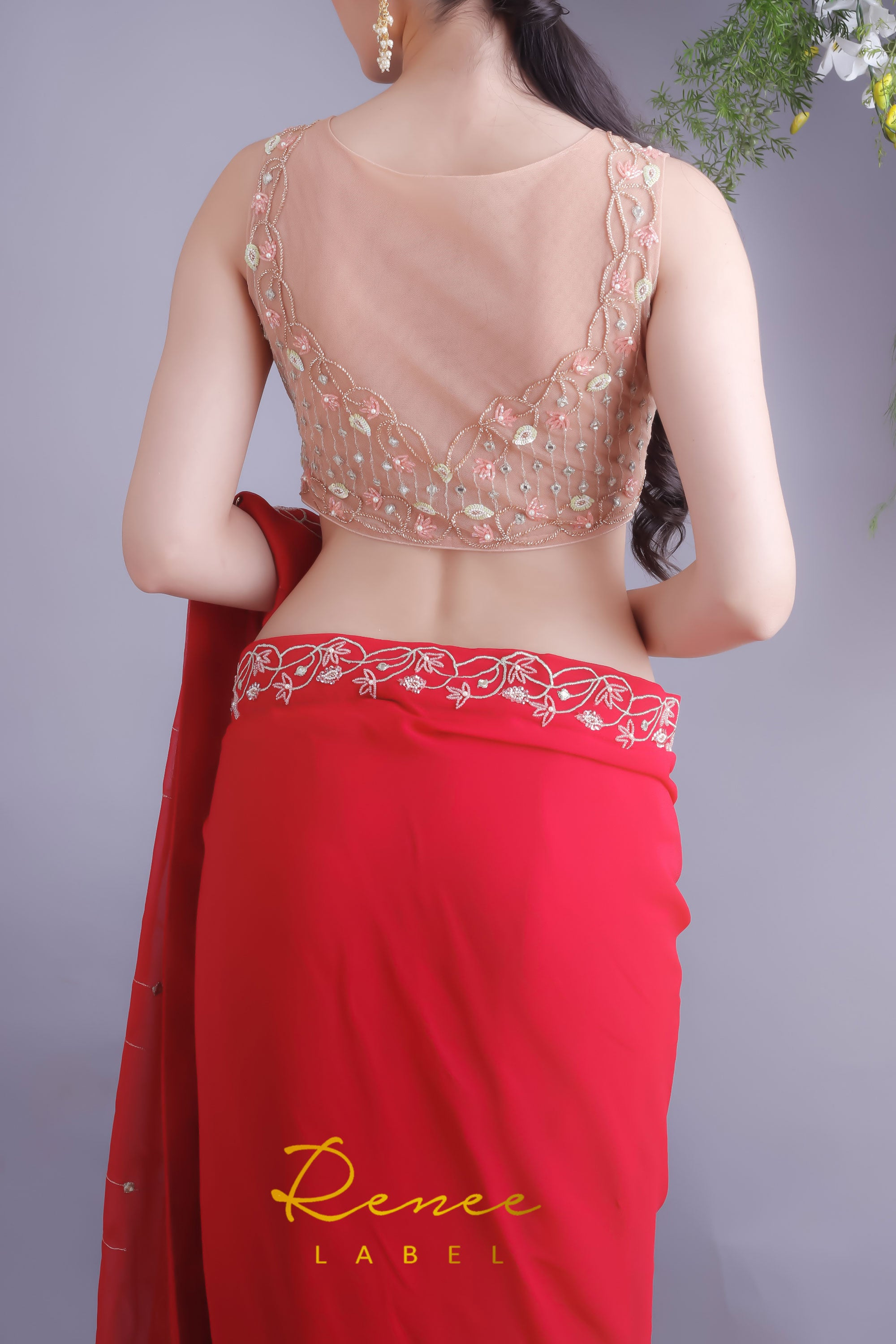 Rose Red Saree & Nude Blouse Closeup