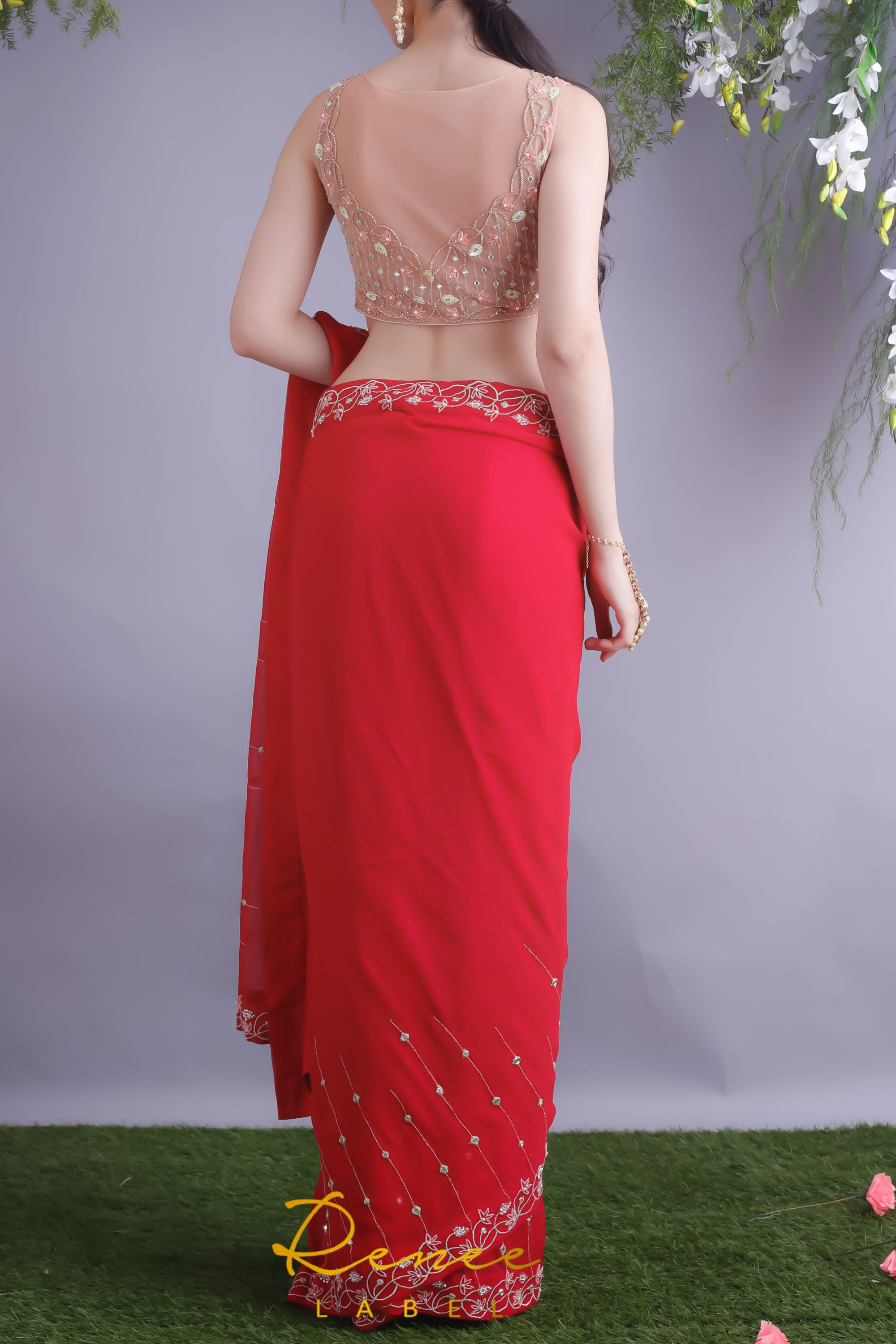 Rose Red Saree & Nude Blouse Back