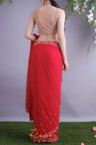 Rose Red Saree & Nude Blouse