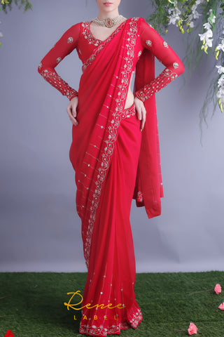 Rose Red Blouse & Viscose Georgette Saree Front
