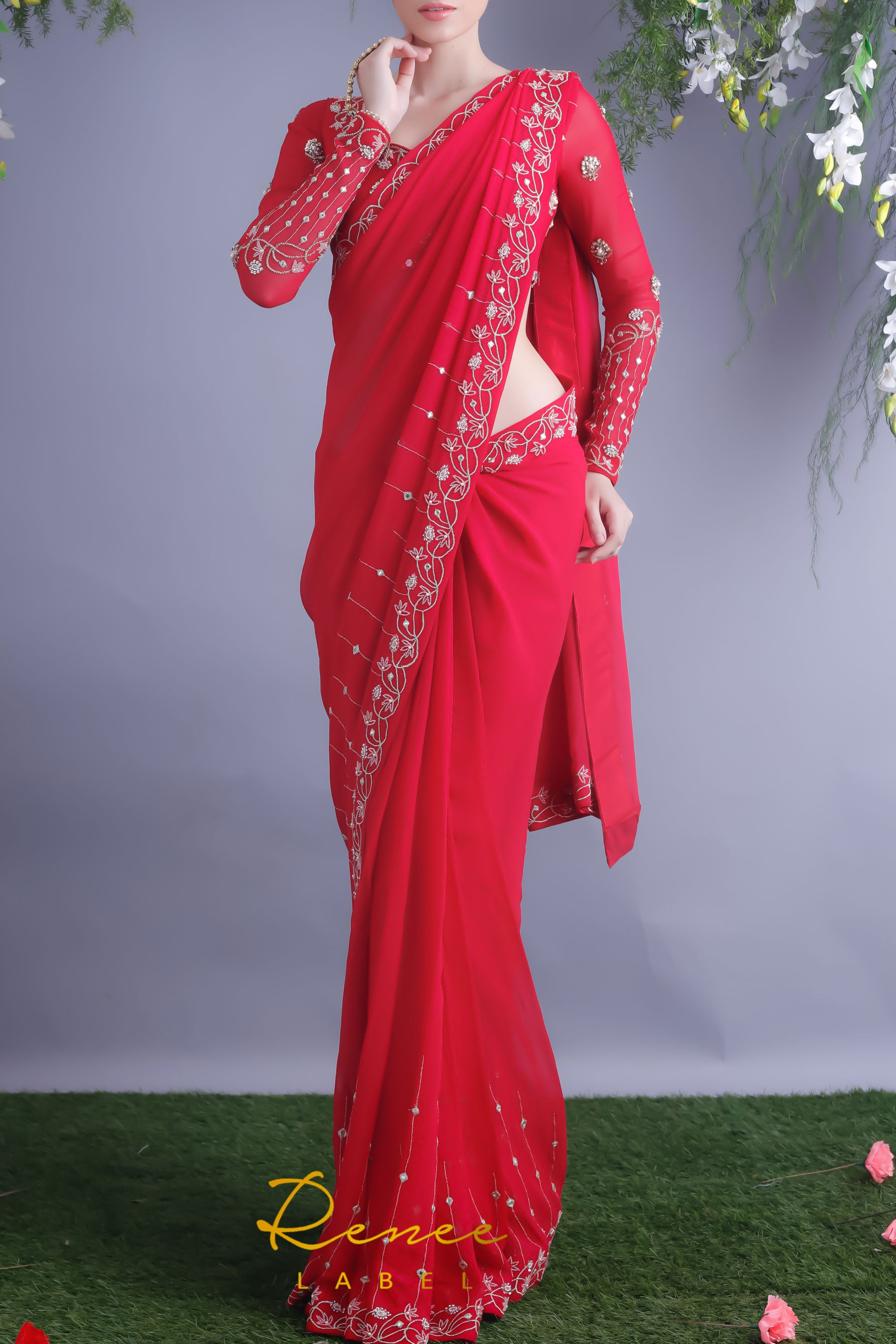 Rose Red Blouse & Viscose Georgette Saree Side