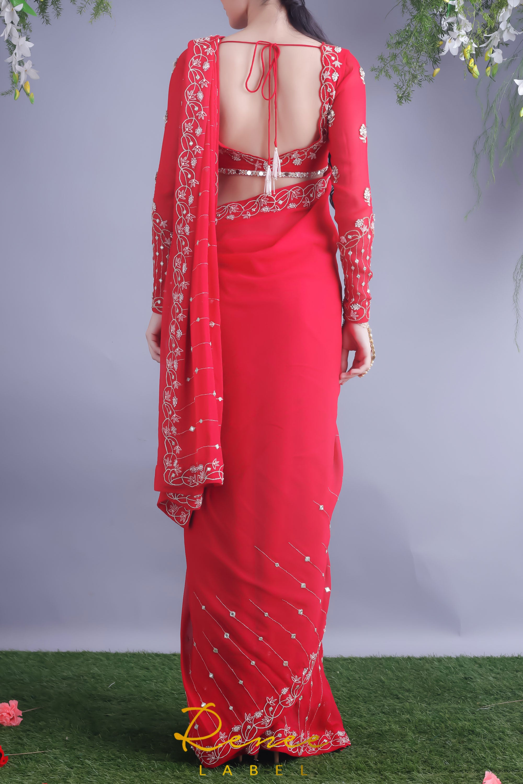 Rose Red Blouse & Viscose Georgette Saree Back