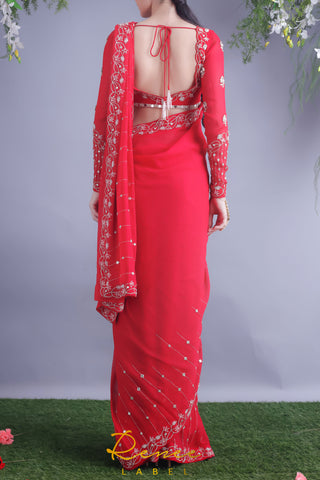 Rose Red Blouse & Saree