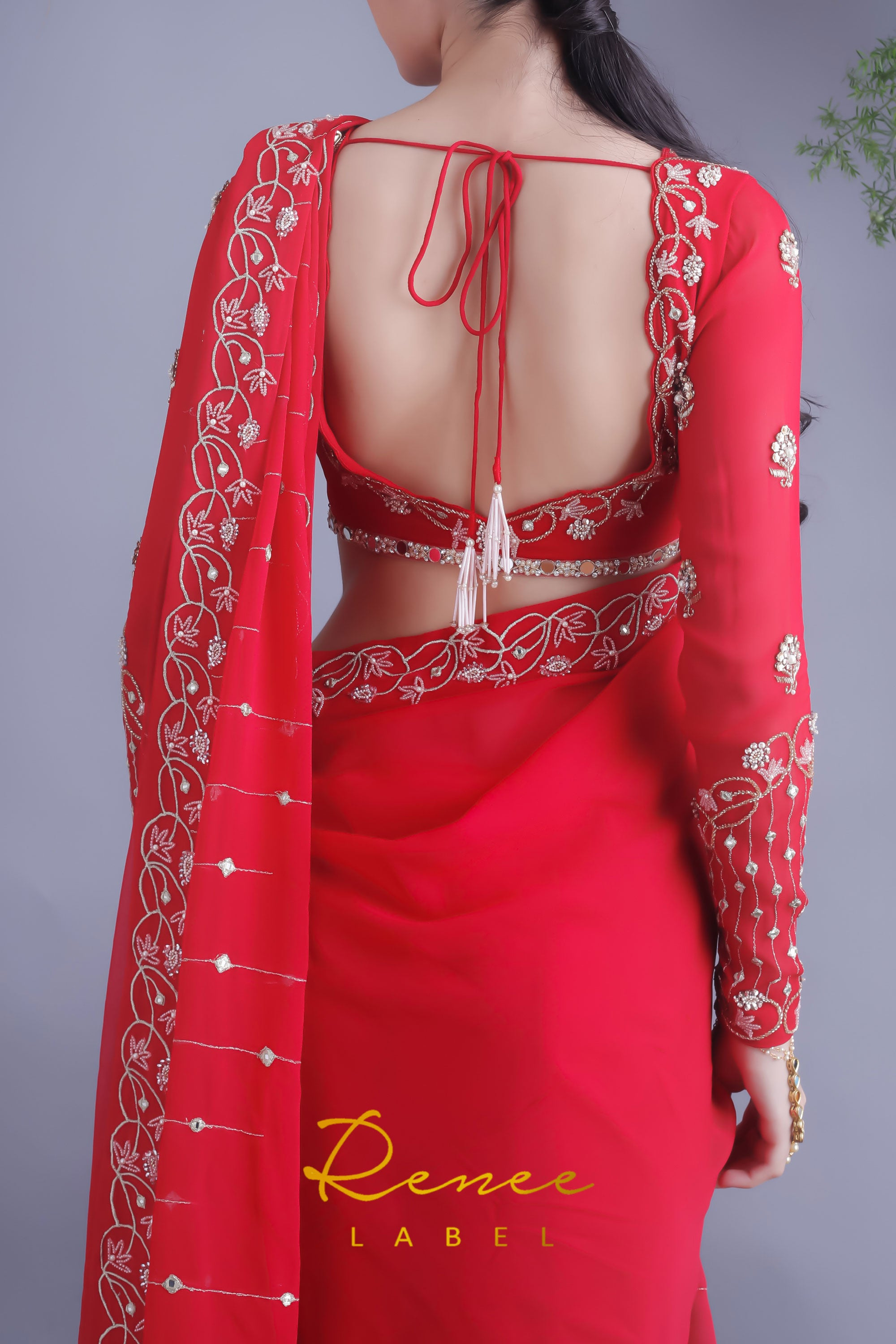 Rose Red Blouse & Viscose Georgette Saree Closeup