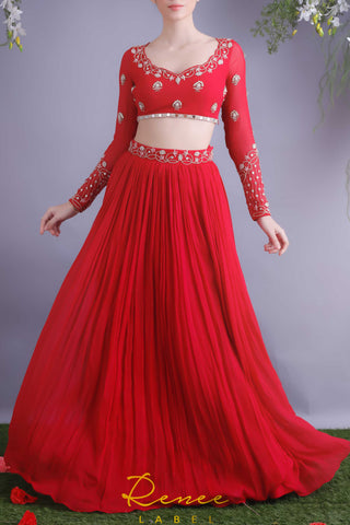 Rose Red Blouse & Lehenga Skirt Set Front