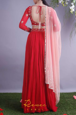 Rose Red Blouse & Lehenga Skirt Set