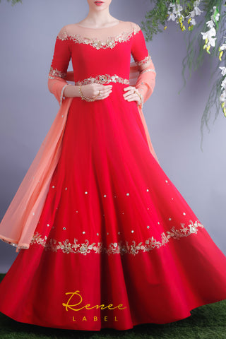 Rose Red Anarkali Gown Front