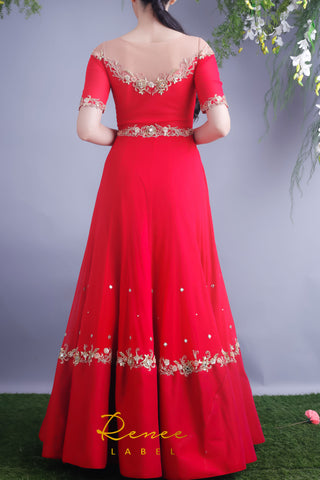 Rose Red Anarkali Gown