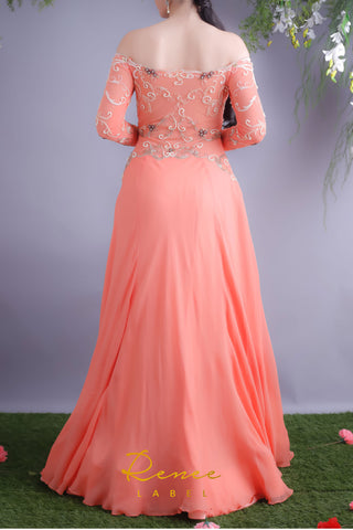 Tangerine Off Shoulder Gown