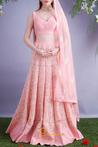 Blush Pink Lehenga & Choli Set Front