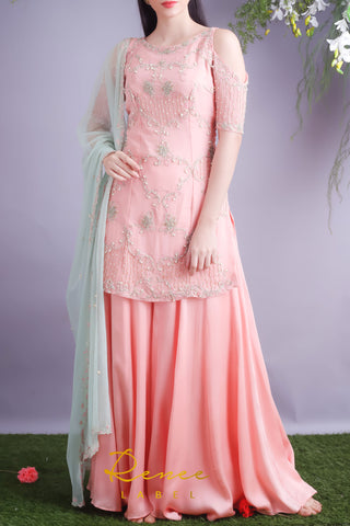 Blush Pink Kurta & Sharara Set Front
