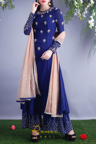Navy Blue Georgette Kurta & Palazzo Pants Front