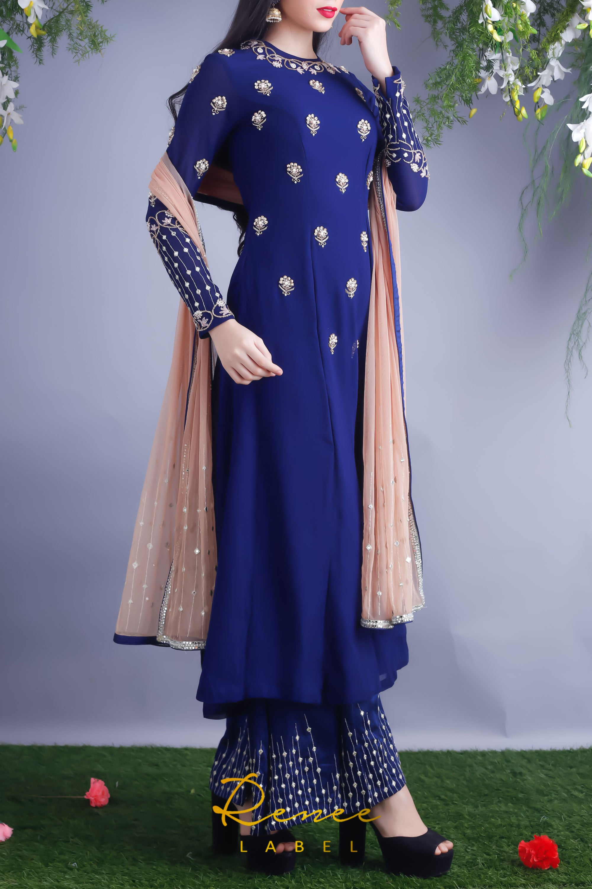 Navy Blue Georgette Kurta & Palazzo Pants Side