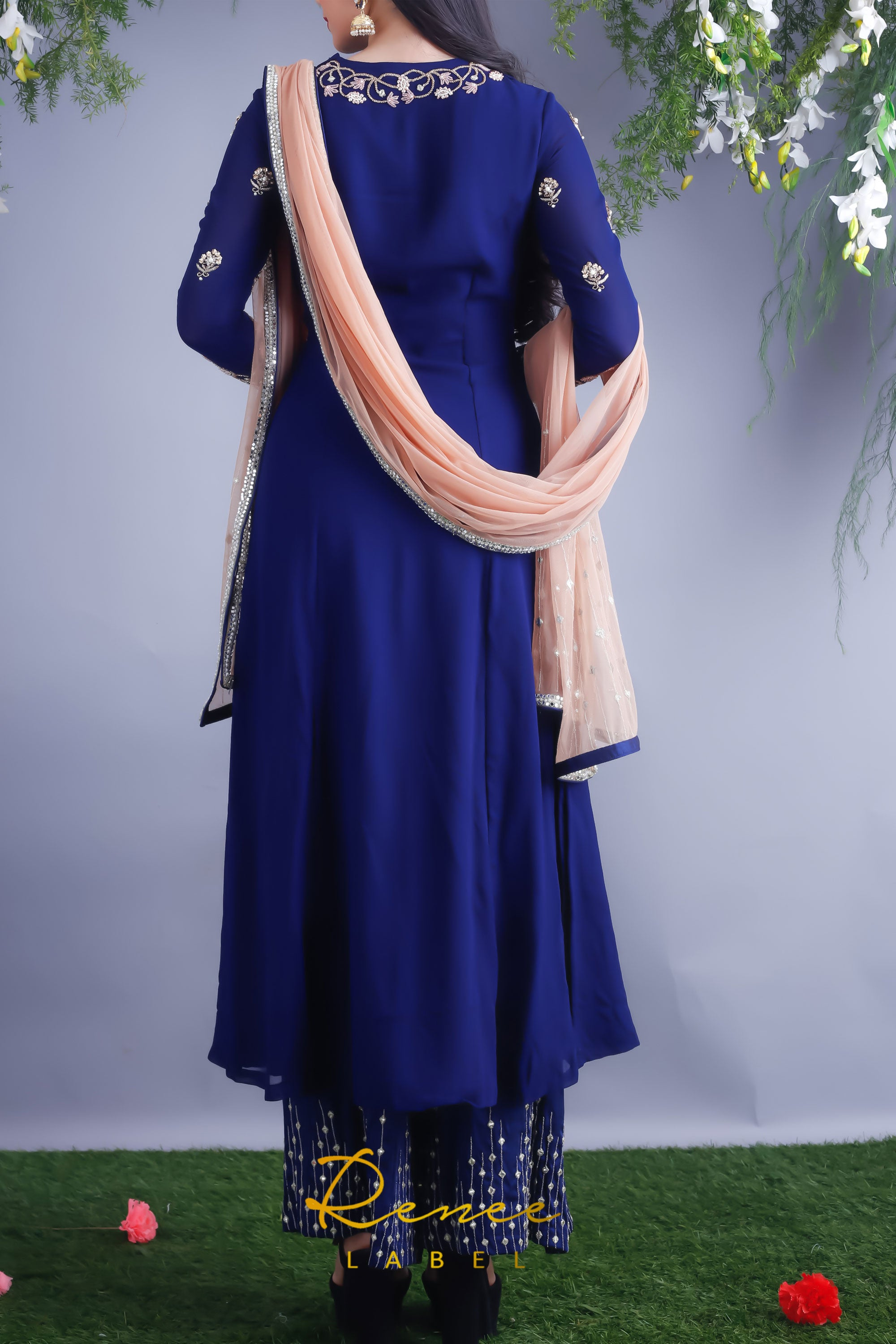 Navy Blue Georgette Kurta & Palazzo Pants Back