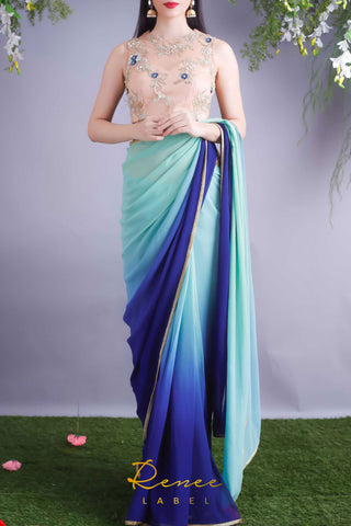 Nude Blouse & Mint Navy Shaded Saree Front