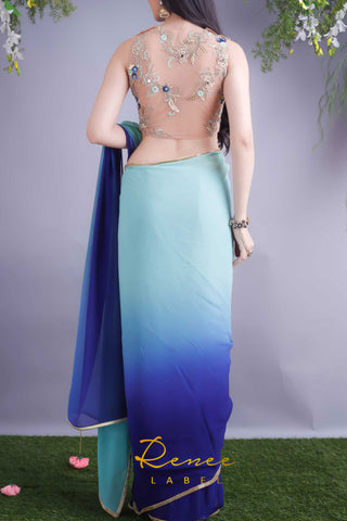 Nude Blouse & Mint Navy Shaded Saree