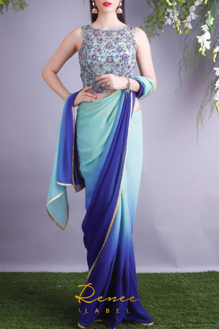 Mint Navy Blouse & Saree Front