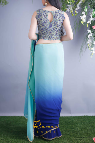 Mint Navy Blouse & Saree
