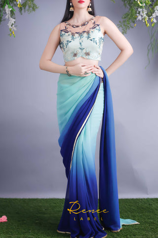 Mint Blue Embroidered Blouse &  Mint Navy Saree Front