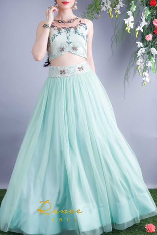 Mint Blue Lehenga Blouse Set Front