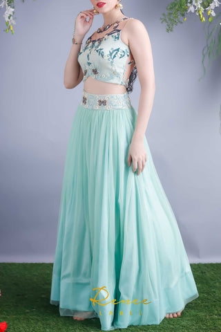 Mint Blue Lehenga Blouse Set