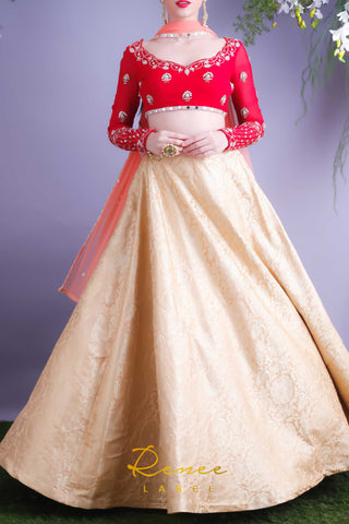 Rose Red Blouse With Gold Lehenga Skirt Set Front