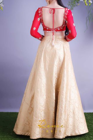 Rose Red Blouse With Gold Lehenga Skirt Set