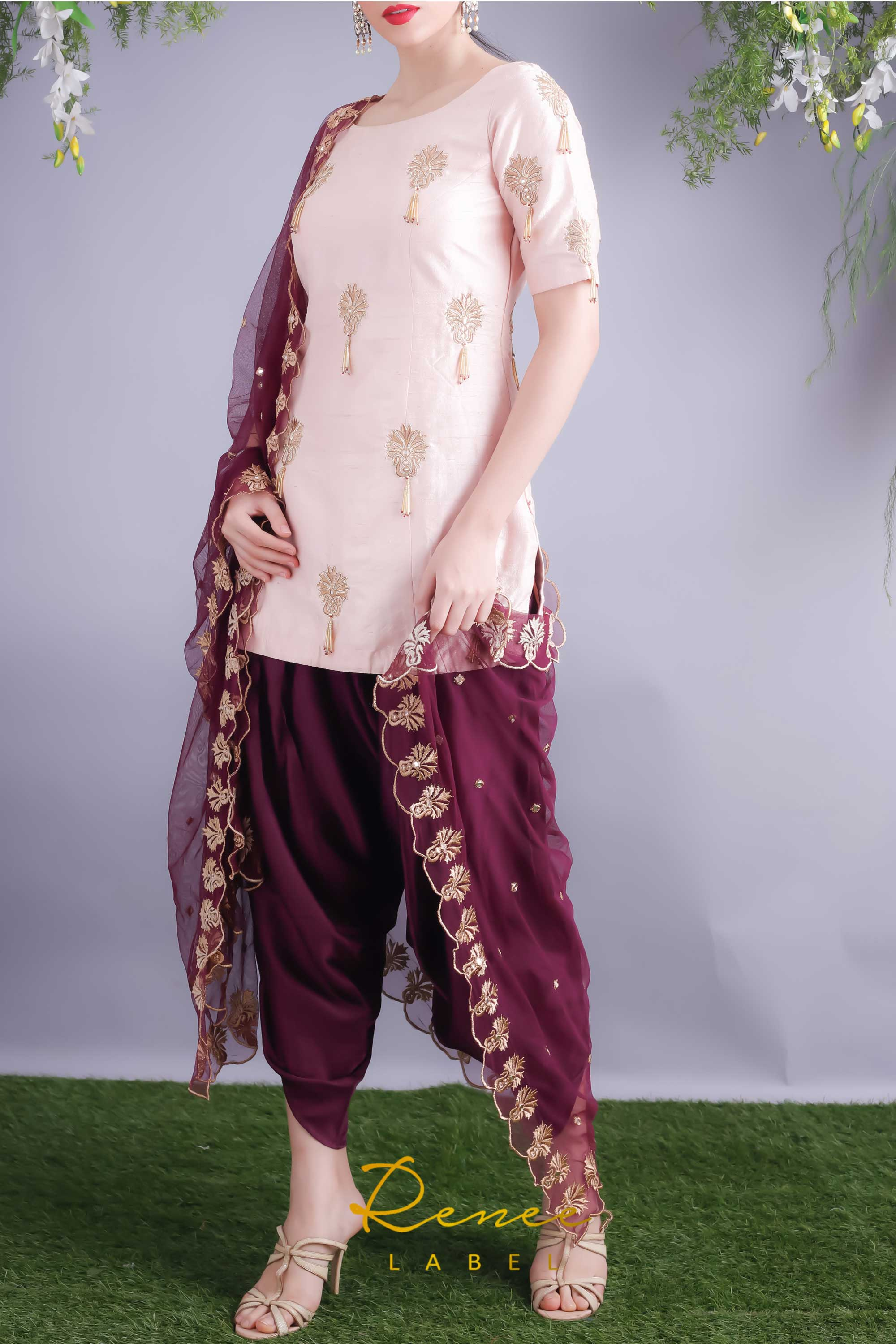 Soft Blush Kurta With Wine Dhoti Pants Side