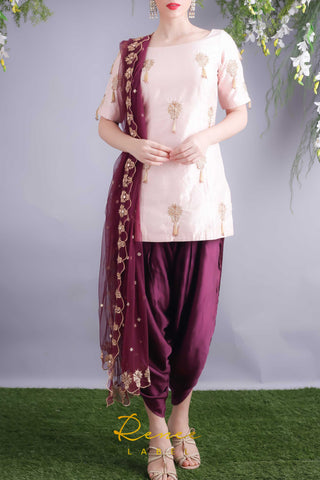 Soft Blush Kurta With Wine Dhoti Pants Front