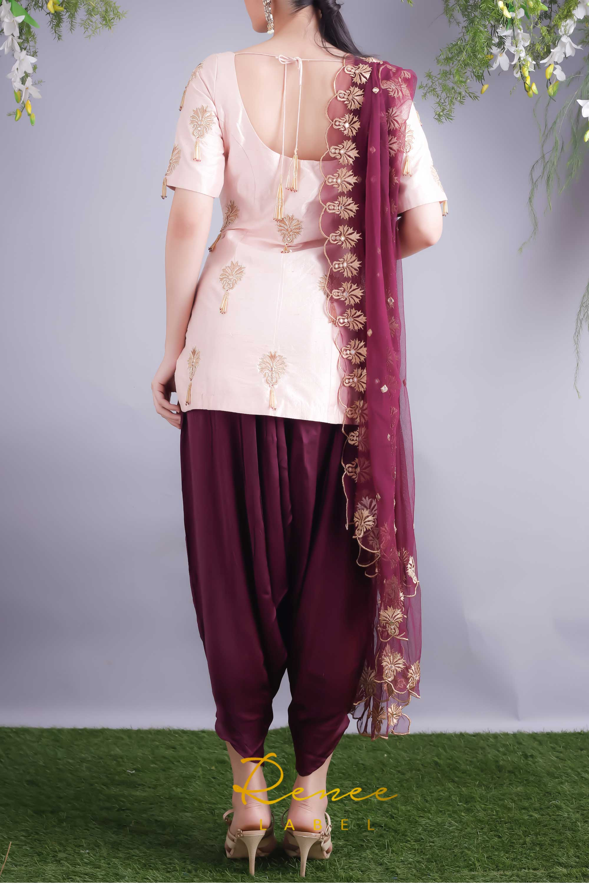 Soft Blush Kurta With Wine Dhoti Pants Back