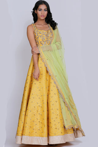 Yellow Brocade Banarsi Anarkali Set