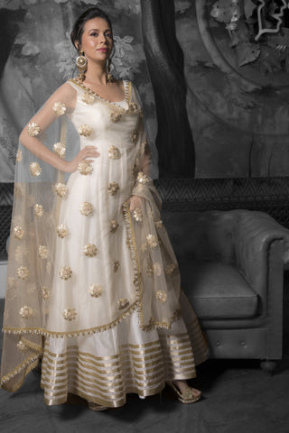 Ivory & Gold Silk Anarkali Set With Pearl Work FRONT