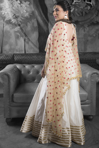 Ivory & Gold Silk Anarkali Set With Embroidered Dupatta