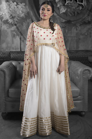 Ivory & Gold Silk Anarkali Set With Embroidered Dupatta FRONT