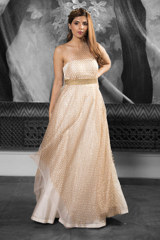 One Shoulder Ivory & Gold Gown & Cutwork Belt FRONT
