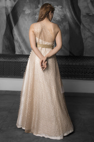 One Shoulder Ivory & Gold Gown & Cutwork Belt
