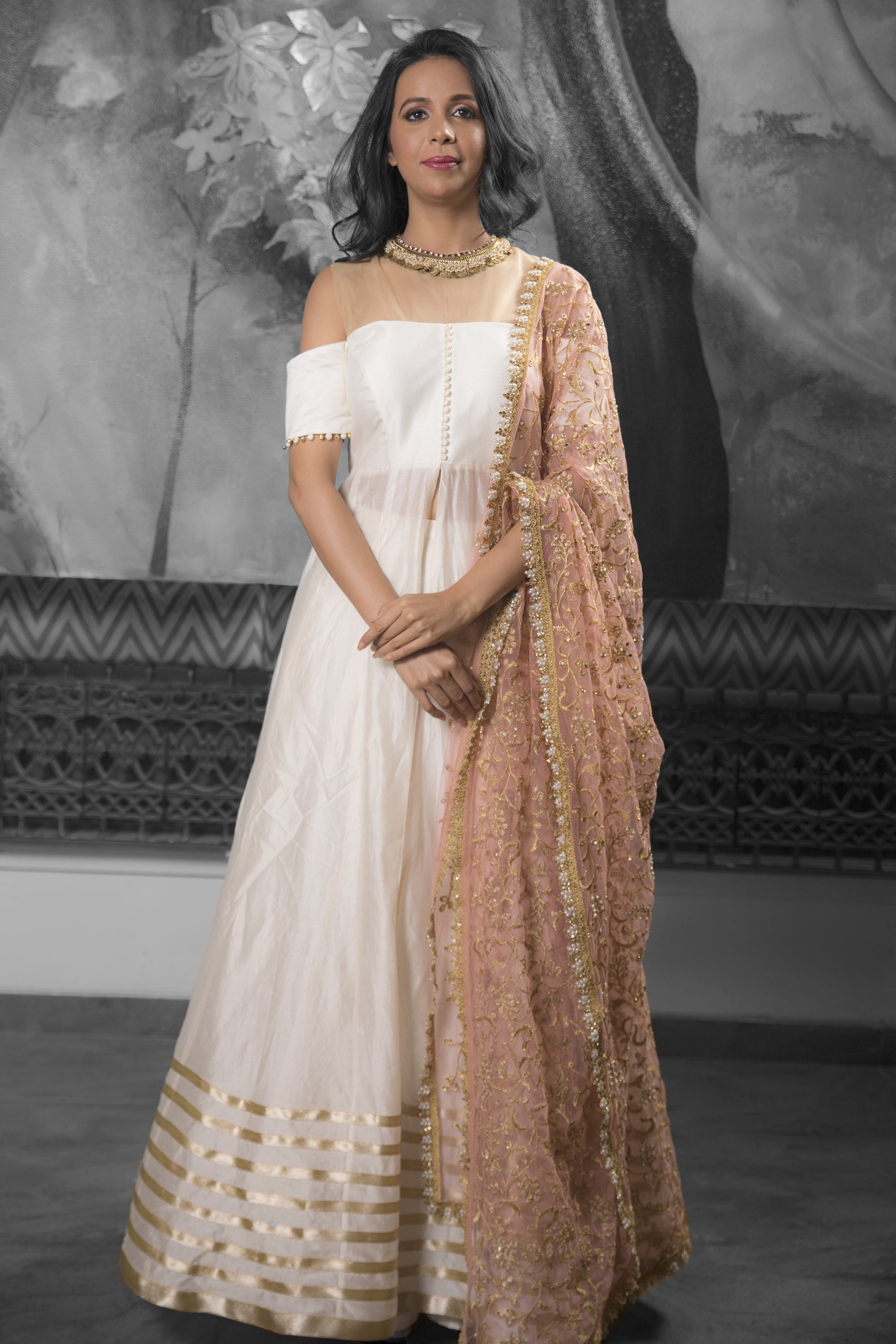 Anarkali Jacket & Lehenga Cotton Silk Set With Dupatta FRONT