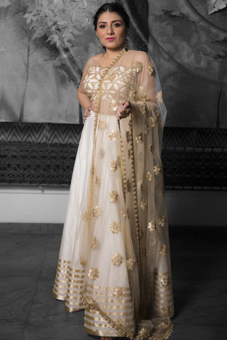 Ivory & Gold Lehenga With Cutwork & Pearls FRONT